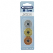 Beadalon B-Lon Nylon Cord 3-pack Silver, Gold, Copper