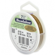 Beadalon stringing wire 7 strand 0.38mm Satin Gold