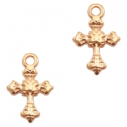 DQ European metal charms cross Rose Gold (nickel free)