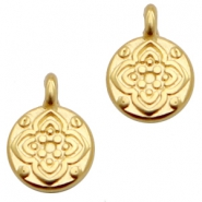 DQ European metal charms round with flower Gold (nickel free)