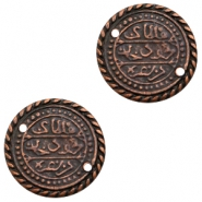 Charms TQ metal connector Oriental coin 27mm Copper (Nickel Free)