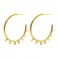 Findings TQ metal Creole earrings 50mm with loops Gold (Nickel Free)