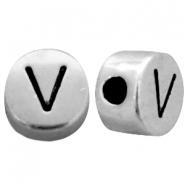 Metal-look beads letter V Antique Silver