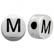 Metal-look beads letter M Antique Silver