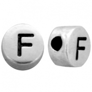Metal-look beads letter F Antique Silver