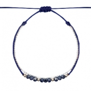 Ready-made Bracelets faceted Dark Blue-White Silver
