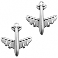 DQ European metal charms airplane Antique Silver (nickel free)