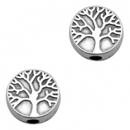 DQ European metal beads disc tree Antique Silver (nickel free)