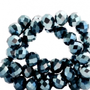Top faceted beads 8x6mm disc Montana Blue-Top Shine Coating
