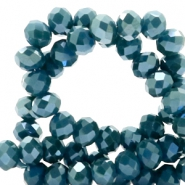 Top faceted beads 4x3mm disc Petrol Blue-Top Shine Coating