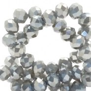 Top faceted beads 4x3mm disc Light Taupe Grey-Top Shine Coating