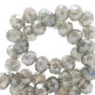 Top faceted beads 8x6mm disc Light Grey-Top Shine Coating