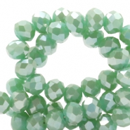 Top faceted beads 4x3mm disc Ocean Green-Top Shine Coating
