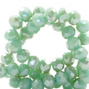 Top faceted beads 8x6mm disc Green Ash-Top Shine Coating