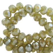 Top faceted beads 8x6mm disc Olive Green-Top Shine Coating