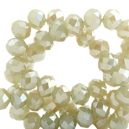 Top faceted beads 4x3mm disc Champagne-Top Shine Coating
