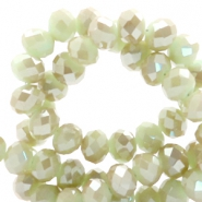 Top faceted beads 8x6mm disc Gossamer Green-Top Shine Coating