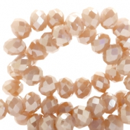 Top faceted beads 6x4mm disc Nude Rose Gold-Top Shine Coating