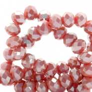 Top faceted beads 4x3mm disc Vintage Red-Top Shine Coating