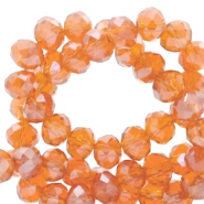 Top faceted beads 8x6mm disc Mandarin Orange-Top Shine Coating