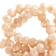 Top faceted beads 6x4mm disc Peach Rose-Top Shine Coating