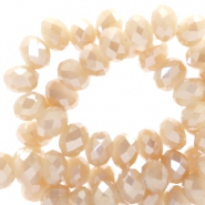 Top faceted beads 8x6mm disc Rose Cream-Top Shine Coating