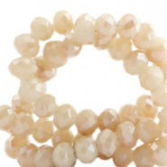 Top faceted beads 8x6mm disc Nude Rose Cream-Top Shine Coating