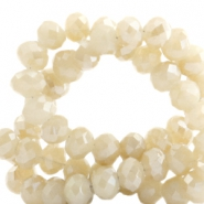 Top faceted beads 6x4mm disc Cream Beige-Top Shine Coating