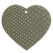 DQ European leather pendants heart Vapor Grey