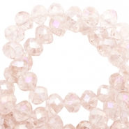 Top faceted beads 8x6mm disc Rose morn pink-pearl high shine coating