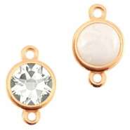 DQ metal setting 2 loops for 7mm cabochon and SS34 flatback stone Rose gold (nickel free)