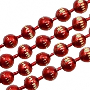 Ball chain gold line 3mm Red
