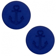 12 mm flat Polaris Elements cabochon Anchor Cobalt Blue