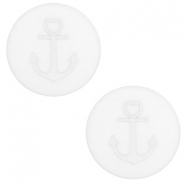 12 mm flat Polaris Elements cabochon Anchor White