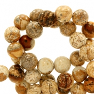 4mm natural stone beads round picture stone Light Brown