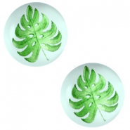 Basic cabochon 12mm Tropical leaf-Light Turquoise Blue