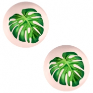 Basic cabochon 20mm Tropical Palm Leaf-Creamy Peach