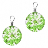 Charms with dried flowers 12mm Green