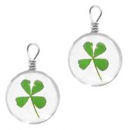 Charms with dried flowers 12mm Clover Green
