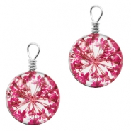 Charms with dried flowers 12mm Dark Pink