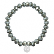 Sisa top faceted bracelets 8x6mm ( stainless steel charm) Dark Greige-Top Shine Coating