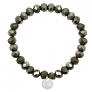 Sisa top faceted bracelets 8x6mm ( stainless steel charm) Dark Army Green-Top Shine Coating