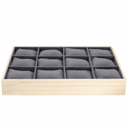 Jewellery display 12 compartments with pillow Natural-Dark Grey