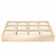 Jewellery display 12 compartments with pillow Natural-Linen White