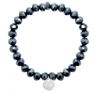 Sisa top faceted bracelets 8x6mm ( stainless steel charm) Dark Blue-Top Shine Coating