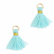 Tassels 1cm Gold-Mint Aqua Blue
