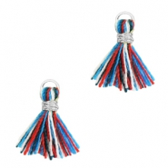 Tassels 1cm Silver-Multicolour Red Blue