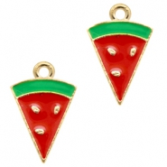 Basic Quality metal charms watermelon Gold-Red Green