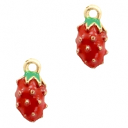 Basic Quality metal charms strawberry Gold-Red Green