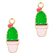 Basic Quality metal charms cactus Gold-Pink Green